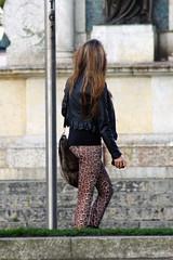 Leather Jacket/Leopard Print Leggings (LeatherCandid) Tags: street uk girls public girl leather fetish print photography boot photo high shiny europe dress shot pants boots candid coat poland tight