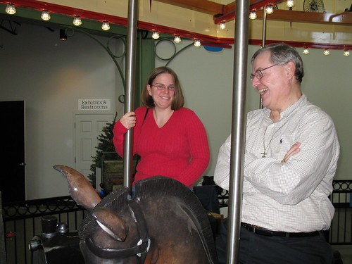 My friend and fellow archivist Collette on the carousel