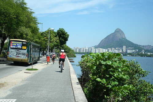 Brazilians Biking and jogging