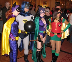 1960's TV Batgirl and Batman, Silver Age Catwoman, and girl Robin at Super Megafest 2011 (FranMoff) Tags: robin costume batman batgirl catwoman supermegafest