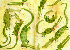 Frolicking Crocs (maralina!) Tags: green art animal yellow illustration ink jaune watercolor sketch drawing mixedmedia character aquarelle alligator sketchbook vert jeunesse giallo crocodile watercolour childrensbook acrylics oilpaint personnage recherche endpapers verdo techniquemixte peinturelhuile livredenfant acryliques