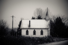 passing... (bluechameleon) Tags: winter bw snow church architecture rural landscape blackwhite structure bluechameleon artlibre sharonwish bluechameleonphotography