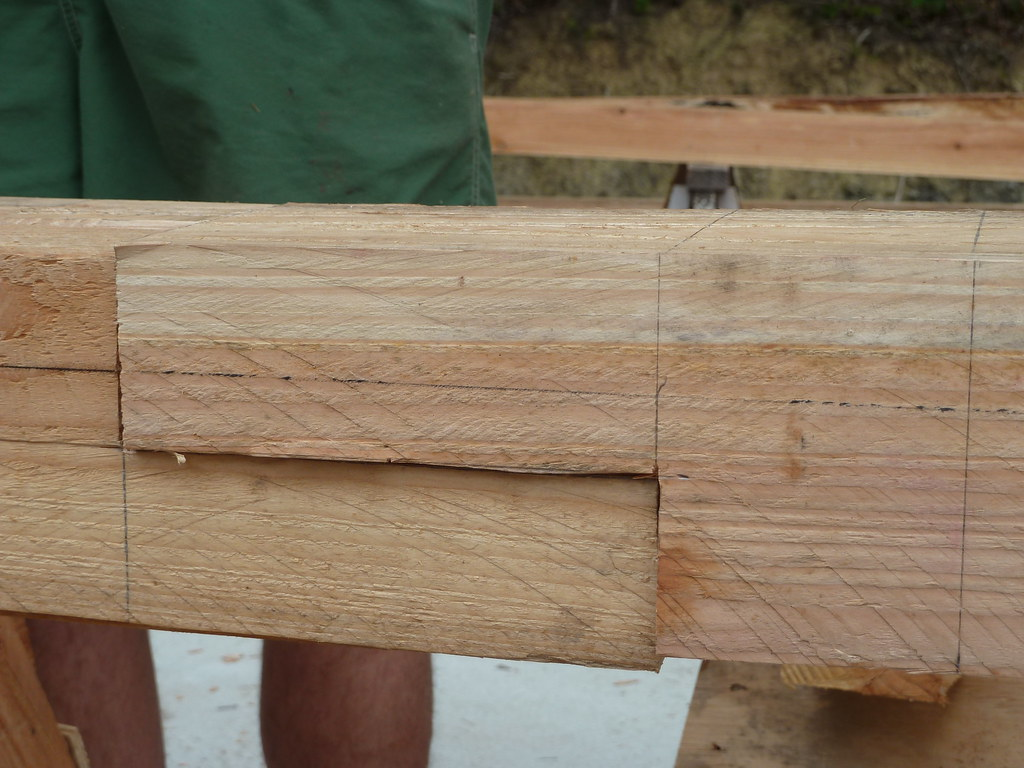 Scarf joint of wall plate timbers