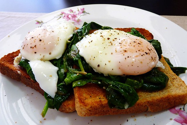 delicious. Year: Poached Eggs with Wilted Baby Spinach