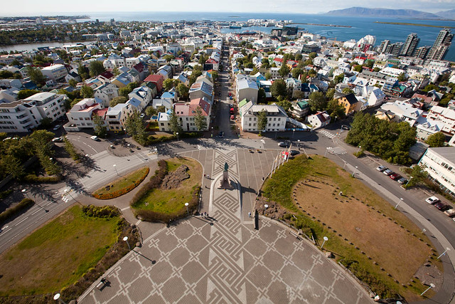 View of the church square from the top of Hallgrimskirkja