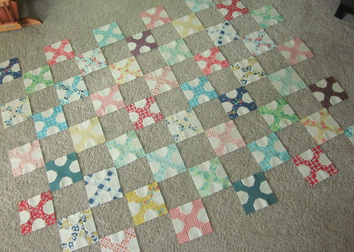 All 50 Vanilla and Blooms blocks... ready to be sewn into the quilt top