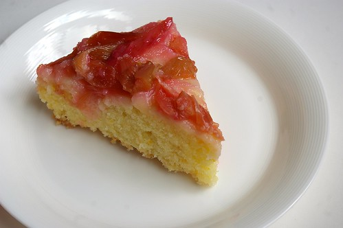 Rhubarb Upside-Down Cake Slice