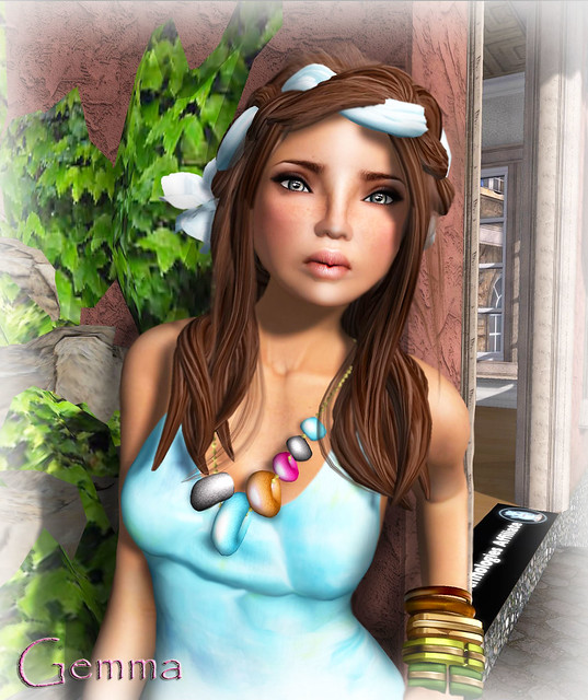 AOHARU-HAIR-Gemma02a(Chocolate) & LonglineTankDress-TiedyeBlue