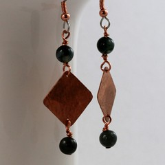 Hammered Copper with Moss Agate Gemstone Earrings (Tasha Chawner) Tags: australia handcrafted diamondshape hammeredmetal dangleearrings handmadecopperearrings texturedcopper tashachawner mossagategemstonebead