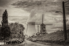 Where clouds are made (bl) Tags: sky blackandwhite bw nature ecology windmill sepia geotagged iso100 blackwhite scenery energy europe skies belgium belgi environment environmentalism hdr nuclearplant ecosystem windenergy flanders doel personalfave vlaanderen nuclearenergy beveren naturalresources canoneos5d photomatix tonemapped tonemapping energycreation flemishregion 1320secatf80 cvkc