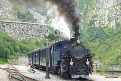 Dampfbahn Furka-Bergstrecke: Halt in Gletsch (HITSCHKO) Tags: schweiz switzerland suisse svizzera wallis uri furka dfb svizra goms oberwald dampfbahn realp urserntal furkabergstreck