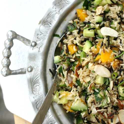Mango Cucumber Rice Salad | mango recipes | cucumber recipes | gluten-free recipes | summer salad recipes | perrysplate.com