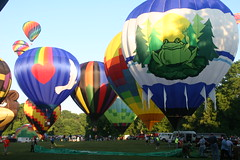 Up, up... (NeriStar) Tags: blue sky green colors balloons colorful michigan balloon jackson hotairballoon environment hotairballoons clearsky niceweather smalltownjackson