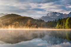 Fired Up (andywon) Tags: trees light sky mist lake mountains alps nature water clouds sunrise reflections germany landscape bavaria mirror hut karwendel wallgau explored geroldsee wagenbrchsee gettygermanyq3