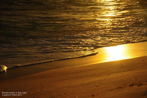 breakwater in sunset