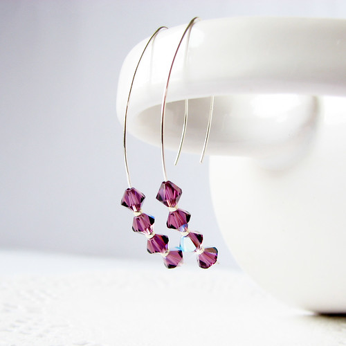 simple modern sterling silver earrings swarovski