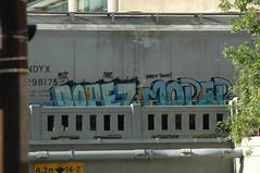 Dopez & Moper (A & P Bench) Tags: railroad train bench graffiti pacific steel rail railway canadian graff railfan freight rolling rollingstock fr8 benching