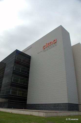 Vista del edificio del Centro de Investigación Médica Aplicada, (CIMA), de la Universidad de Navarra, en la la Avenida de Navarra