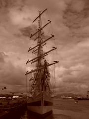 The Tall Ships: Sepia Ship (stuartpaterson) Tags: show uk ireland norway race port scotland concert colombian unitedkingdom navy polish norwegian sailor naval rigging bunting tallshipsrace seaman portglasgow galleys thetallships bogston greennock