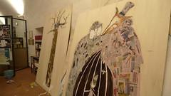 EVOLUZIONE DEL COLLAGE (ALTALUNA) Tags: mostra festival teatro circo clown albero pinocchio gatto illustrazioni oro mangiafuoco volpe pittura collodi balena favole sorano installazioni monete illustrazione cuccagna pannelli infanzia carovana gitani altaluna burattni