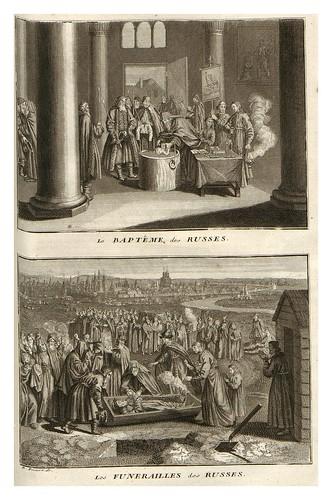 008-Bautismo entre los rusos-Funerales rusos-Ceremonias et coutumes religieuses de tous les peuples du monde 1741- Bernard Picart-© Universitätsbibliothek Heidelberg