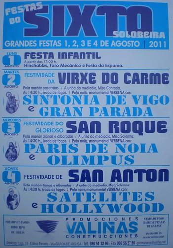 Vilagarcía de Arousa 2011 - Festas no Sixto-Solobeira - cartel