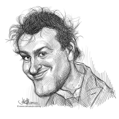 digital caricature sketch of Jason Segel