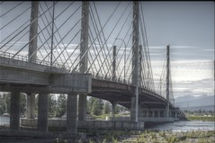 An image of the Pitt River Bridge in Pitt Meadows, British Columbia. Seven concrete pillars looking quite old.