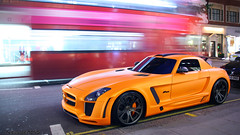 Mercedes SLS FAB Design (Niels de Jong) Tags: street fab orange house black bus london colors night speed mercedes benz hotel design long exposure dubai nightshot wheels vivid commons double millennium explore exotic arab shutter rims abu dhabi sheikh supercar carshow matte doubledecker sls amg qatar londen mariott decker arabs grosvenor sloane sigma18200 explored hypercar gullstream nielsdejong krimpengespot canoneos1000d ndjmedia