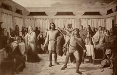 Loke at Aeger's Feast (Thorskegga) Tags: old painting wolf god goddess victorian loki odin thor viking mythology frey myth freya pagan norse sif heathen frigg aegir frigga njord asatru heathenry braggi othinn