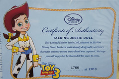 Certificate of Authenticity. (Al's Toy Barn) Tags: toy doll toystory disney collection story pixar cowgirl limitededition toystory3 toystorycollection