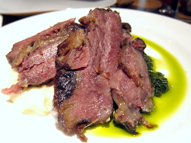 FORTY-EIGHT HOUR BEEF CHEEK OR THREE MINUTE FLANK STEAK WITH WHITE PURÉE AND CHIMICHURRI