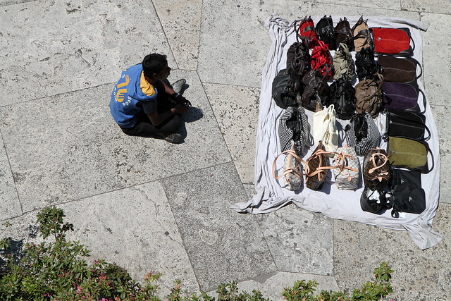 Rome. Fake designer bags dealer near Spanish steps