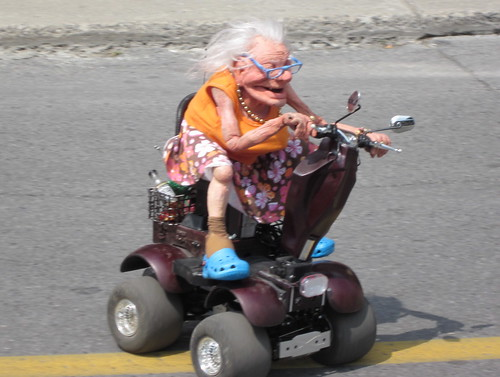 Old lady on a scooter