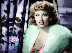 Happy 100th Birthday to Movie Star Lucille Ball (Walker Dukes) Tags: california pink flowers blue red orange woman white black color green art film beautiful beauty television yellow lady photoshop canon hair gold screenshot glamour eyes purple teeth curtain young feather auburn jewelry lips showgirl birdofparadise hollywood actress movies filmstill filmstills actor cloak earrings cleavage haired diva pendant bluegreen moviestills topaz moviestill turnerclassicmovies moviestars oldmovies picturesofthetelevision televisionshot topazadjust canons95
