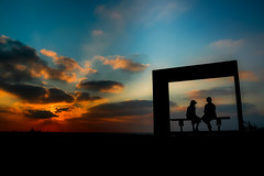 Sit and watch the sun go down (snowyturner) Tags: sunset sky people sun mediterranean room silhouettes cyprus coastal rays paphos pafos