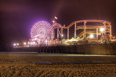 Santa Monica Pier (cstout21) Tags: california ca travel chris vacation usa beach water night circle landscape us dock sand colorful pretty unitedstates santamonica landmark historic deck pacificocean ferriswheel rollercoaster santamonicapier westcoast hdr highdynamicrange stout ngoc canon60d stoutandstout northamera