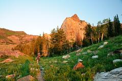 Making our way camp beneath Sundial Peak at sunset