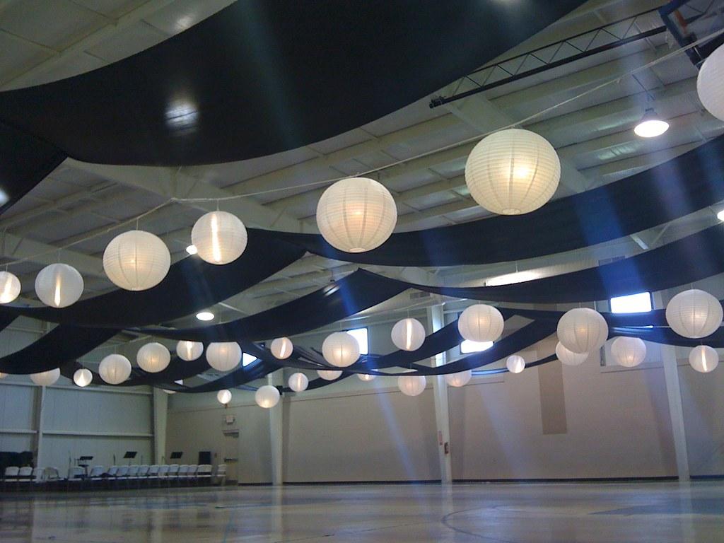 Gym fabric ceiling drape