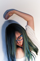 (evilibby) Tags: blue girl glasses human libby 365 bluehair mybedroom blueangel 365days 3654 365days4 musicallychallenged