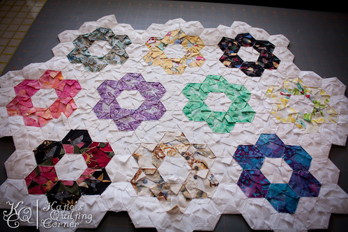 Grandmother's Flower Garden Quilt Top - From the back