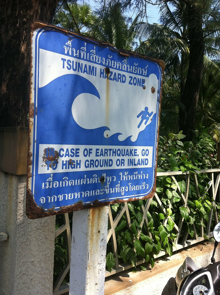 Tsunami warning sign, Kata Yai, Phuket