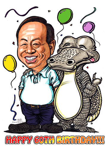 Birthday caricature for Heng Long with crocodile - final