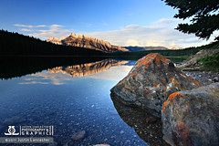 TwoJackSunrise (photogenic (Justin Lancaster)) Tags: lake canada mountains sunrise reflections rocks banff twojacklake
