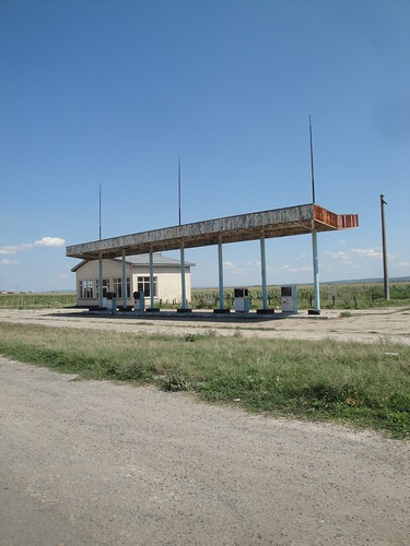 abandoned fuel station