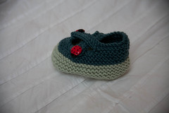 Bootie from the side (orlyp) Tags: knitting ladybirds babybooties intheround debbieblisscashmerino
