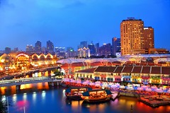 Clark Quay @ Blue Hour (Kenny Teo (zoompict)) Tags: bridge cruise blue light sunset sky reflection building tourism water beautiful bar club night sunrise canon wonderful magazine poster lens landscape hotel boat photo yahoo google scenery photographer waterfront view nightout riverside wave tourist best getty liveband kenny  clarkequay novotel singaporeriver chillout clubing rivertaxi riversidewalk bestphotographer bestscenery zoompict eos5dmark2 singaporelowerpiercereservoir