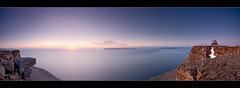 Sunset at top off the mountain - panorama - Iceland (Arnar Bergur) Tags: ocean sunset sea sky panorama usa sun mountain snow clouds canon iceland top 5d base arnar 1740 radar fjords sland vestfirir westfjords bolungarvik slsetur bolfjall