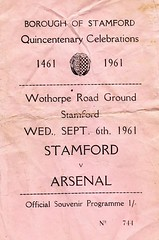 Stamford v Arsenal 1961 front cover