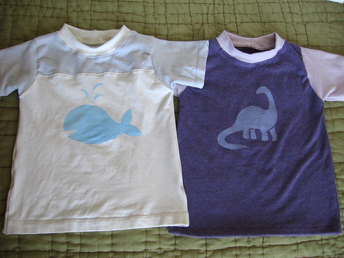 freezer paper stenciled t-shirts